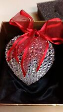 HOME SHOPPING NETWORK CHRISTMAS ORNAMENTS GLASS HEART RED BOW NEW IN BOX NICE!