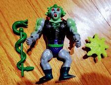 Vintage MOTU 80's Snake Face Action Figure w/Staff & Shield - works!