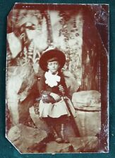 1/6th Plate Tintype Sad Little Girl with Hat Handbag and Parasol