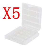 Battery Storage Box 5 Pcs New Clear Transparent Hard Plastic Case Holder AA/AAA