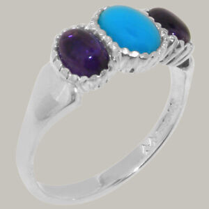 9ct White Gold Natural Turquoise & Amethyst Womens Trilogy Ring - Sizes J to Z