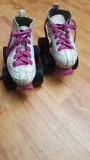 Rocket Roller Skates for Girls Kids | By Crazy Skates | Pink/White Size J 11
