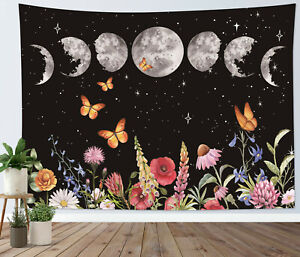 Boho Moon Phase Tapestry Floral Butterfly Wall Hanging For Living Room Bedroom