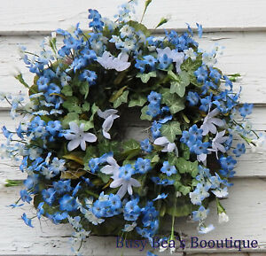 Spring Silk Floral Wreath, Blue Forget-Me-Nots,Flower Wreath, Mother's Day