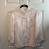 Maharajas Womens Blouse Multicolor Pink Floral Long Sleeve Embroidered Linen L