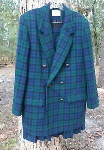 VTG Pendleton Blazer Jacket & Skirt Black Watch Tartan Plaid Pure Wool SZ 10