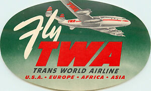 Fly TWA ~TRANS WORLD AIRLINE~ Beautiful Old Luggage Label, c. 1950