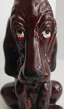 Vintage Redware Bloodhound  Dog Decanter Japan Decorative Clay Figurine Hound