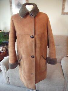"""NURSEYS"" LADIES REAL SHEEPSKIN COAT TAN IN COLOUR UK SIZE 14...42 INCH CHEST.."
