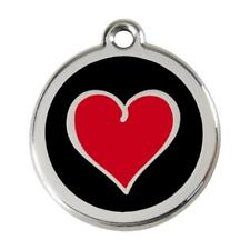 Red Dingo Dog Cat Pet ID Tag Charm FREE Personalized Engraving HEART BLACK
