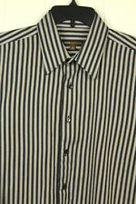 "BCBG Attitude Mens Size L 16 1/2"" 34/35 Striped Button Down Shirt French Cuffs"