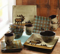 Square Dinnerware Set 16pc Wildlife Cabin Lodge Plates Rustic Dishes Stoneware