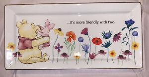Disney Winnie the Pooh Piglet Floral Flowers Gold Rim Trim Serving Plate Platter