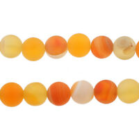 Topas Orange 4mm Achat Perlen Matte Natürliche Streifen Edelsteine BEST G836