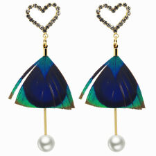 Romantic Hearts with Peacock Feathers White Pearl Drop Dangle Women Earrings