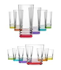 Lav Coloured Base Set of 6 Whisky Juice Short/Highball Thumbler Drinking Glasses