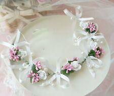 Women Flower Girl Party White ribbon bow Wedding Bride Hair Headband Headpiece