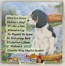 CAVALIER KING CHARLES SPANIEL DOG tri colour b HARDBOARD PLAQUE TILE SANDRA COEN