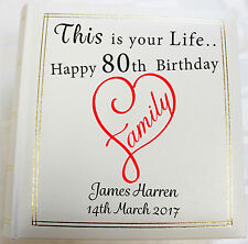 Personalised Photo Album, Memory/Guest Book ,80th Birthday, (6 x 4) 300 photos