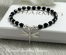 sterling silver charmed dragonfly onyx stretch stacking bracelet 925