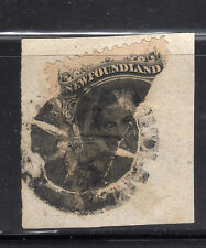 Newfoundland #27B 10 cents black half used on piece with certificate.C.V.5000$.