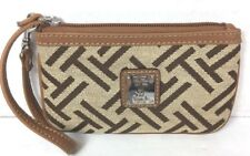 Tignanello Small Tan with Brown Signature Fabric Wristlet Pouch