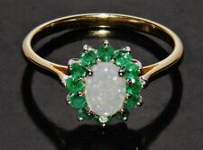9ct Yellow Gold & Silver Natural Opal & Emerald Ladies Cluster Ring size N