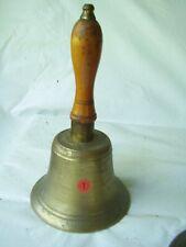 """Antique Cast Brass School Bell 11"""" Tall 5-3/4"""" Wide"""