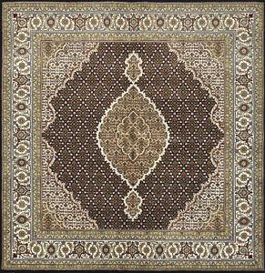 Fine Oriental Mahi Rug, 6'x6' Square, Black, Hand-Knotted Wool Pile