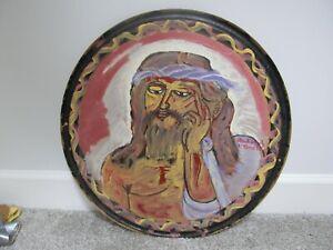 "RUDOLPH V BOSTIC RUDY Painting ROUND  23"" JESUS Savannah GA artist folk art"