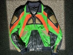 Vtg / Cold Wave / Lime Green / Padded & Lined / Leather Coat / Machine Jacket