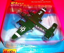 SKY MASTERS Die Cast  B-25J AJZ Green Plane Airplane Toy Maisto MIGHTY MOTORS