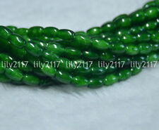 """Natural Dark Green 4x6mm Chalcedony Agate Rice-shaped Gems Loose Beads 15"""" Y1701"""