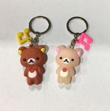 Set of 2 Rubber Rilakkuma Bear Keyring / Keychain / Key Organiser Holder