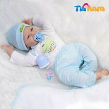 55cm Reborn Baby Dolls Boy Silicone Vinyl Cotton Body White and Light Blue...