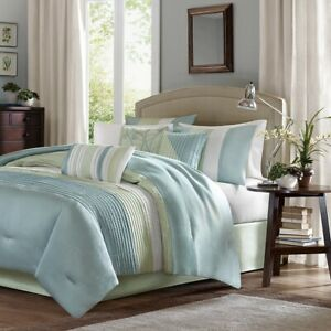 Luxury 7pc Blue & Green Large Stripes Comforter Set AND Decorative Pillows
