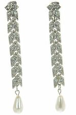 Kenneth J Lane KJL Pearl Drop Crystal Clip-on Long Earrings