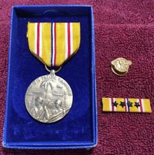 WWII Asiatic Pacific Medal 4 Star Ribbon Bar Honorable Discharge Ruptured Duck