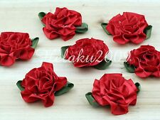24pcs red Satin Ribbon green leaves carnation flower appliques