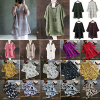 Plus Size Women Casual Short Sleeve Baggy Cotton Linen Tee Shirt Tee Tops Blouse