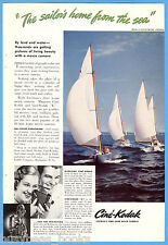 1938 KODAK movie camera advertisement, Sailing yachts Cine-Kodak racing sailboat