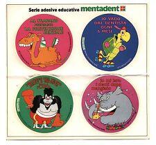 4 Adesivi MENTADENT BRUNO BOZZETTO Serie educative sticker Pubblicità PROMO