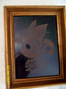 GOLDEN DRAGON ETCHED SCIENCE FICTION DRAGON ART WORK