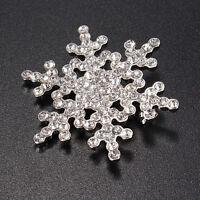Silver Rhinestone Crystal Snowflake Brooch Pin Wedding Bridal Jewelry Xmas Gift