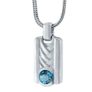 "Men's London Blue Topaz Chevron Pendant in Sterling Silver, 22"""