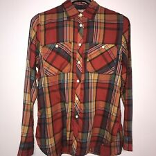 Denim & Supply Ralph Lauren Women's Red Plaid Button-Up Shirt Soft Cotton Size M