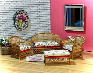 1:16 Dollhouse cane rattan living room set sofa armchairs Pink Rose Lundby scale