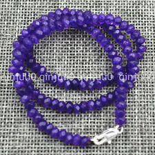 """Handmade Gemstone 2x4mm Faceted Brazilian Amethyst necklace 18 """"Silver clasp"""