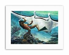 PULP FICTION GIANT STING RAY DIVER FIGHT UNDER WATER Canvas art Prints