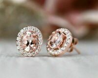2.50Ct Oval Cut Morganite & D/VVS1 Stud Earrings Solid 14K Rose Gold Finish